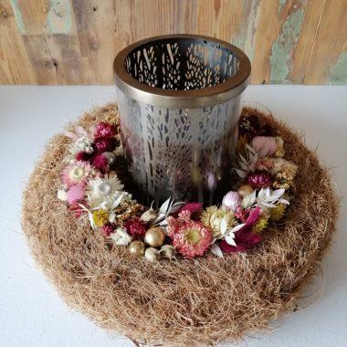 kokoskrans met droogbloemen